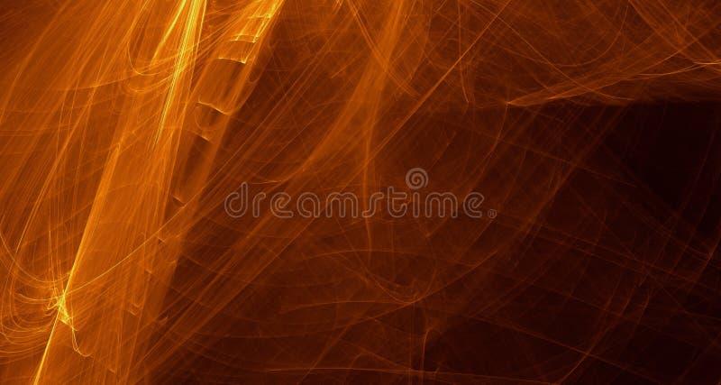 Абстрактный апельсин, желтый цвет, свет золота накаляет, лучи, формы на темной предпосылке иллюстрация вектора