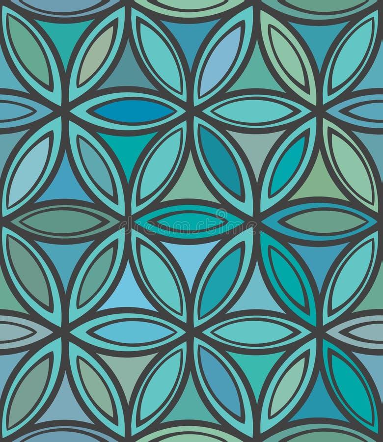 Абстрактный безшовный голубой и зеленый цветочный узор иллюстрация штока