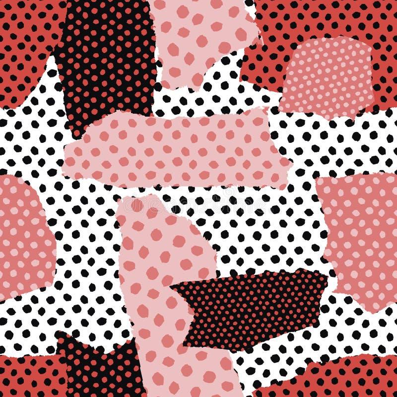 Абстрактный безшовный коллаж картины Современный творческий стиль Предпосылка текстуры ультрамодная Резать форму бумаги иллюстрация штока