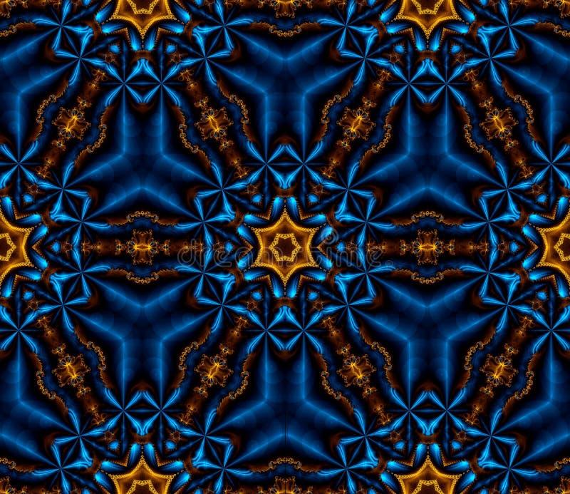 Абстрактный безшовный свет фрактали - голубые снежинки бесплатная иллюстрация