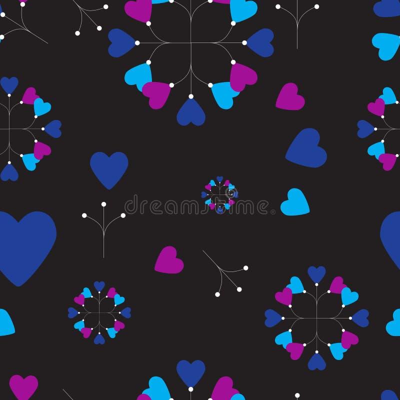 Абстрактный безшовный цветочный узор с красными розами и розовый и голубой freesia на черной предпосылке иллюстрация вектора