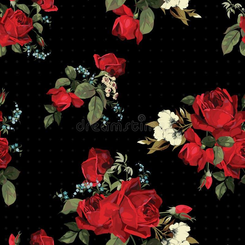 Абстрактный безшовный цветочный узор с красными розами на черном backgro иллюстрация вектора