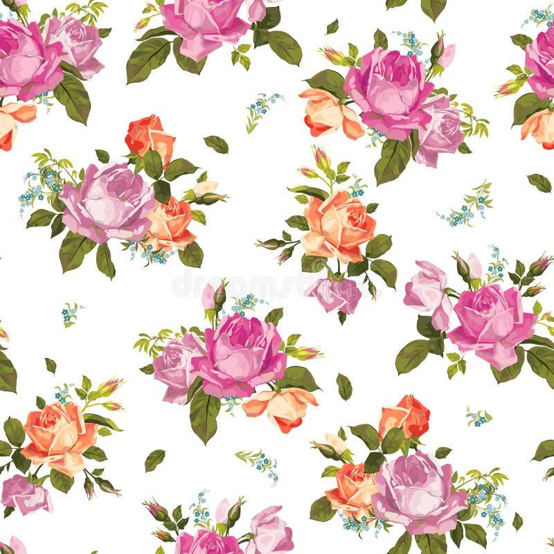 Абстрактный безшовный цветочный узор с розовыми и оранжевыми розами на w иллюстрация штока
