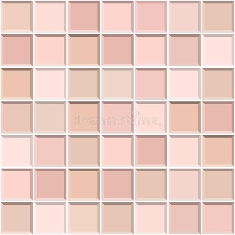 Абстрактный бесшовный узор золотых керамистых плиток розового золота Дизайн геометрической мозаичной текстуры для отделки гостино бесплатная иллюстрация
