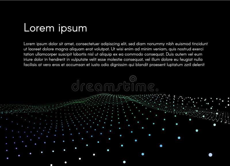абстрактный белый цвет ставит точки на черной сети предпосылки, поставленной точки иллюстрации вектора поверхности сетки иллюстрация штока