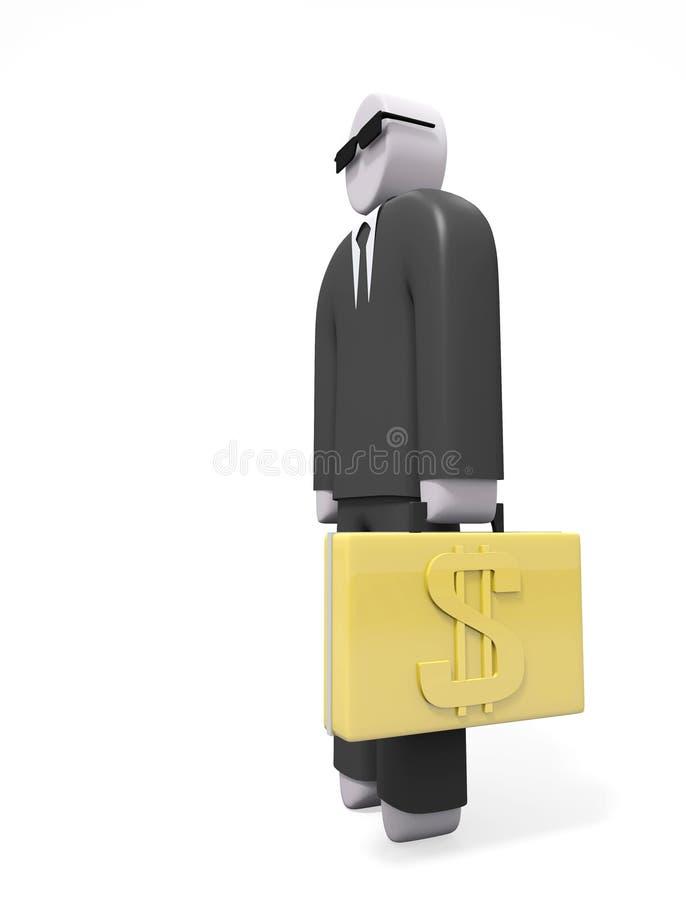 Абстрактный бизнесмен в черном костюме с золотым чемоданом иллюстрация вектора