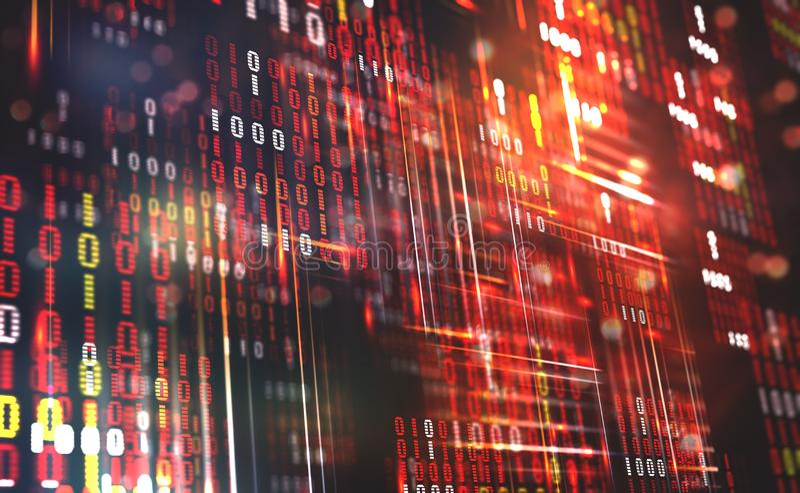абстрактный бинарный Код Данные по облака Технология Blockchain Виртуальное пространство цифров Большая принципиальная схема данн иллюстрация штока