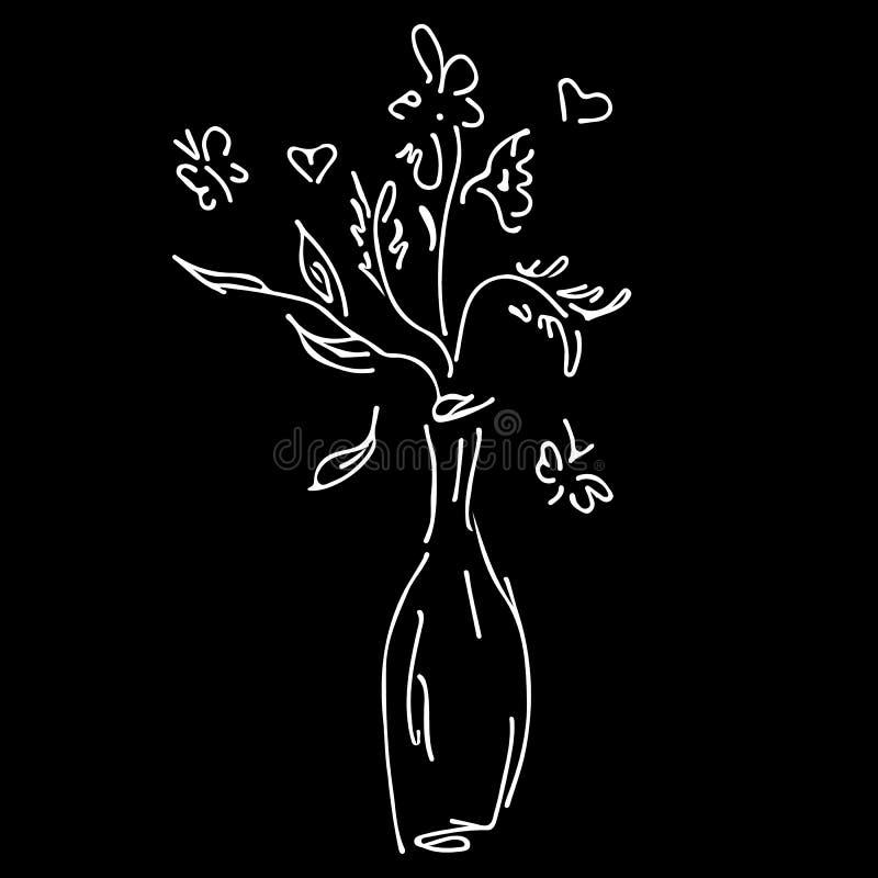 Абстрактный букет полевых цветков изолированный на черной предпосылке E Значок плана иллюстрация вектора