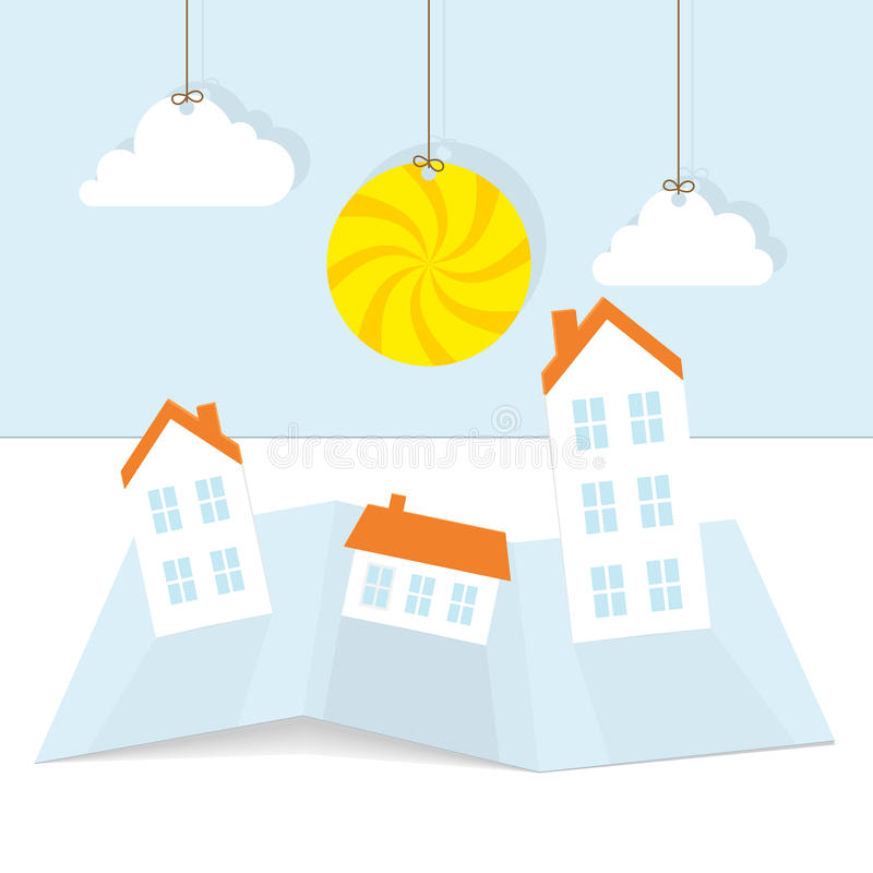 абстрактный бумажный городок солнца иллюстрация штока