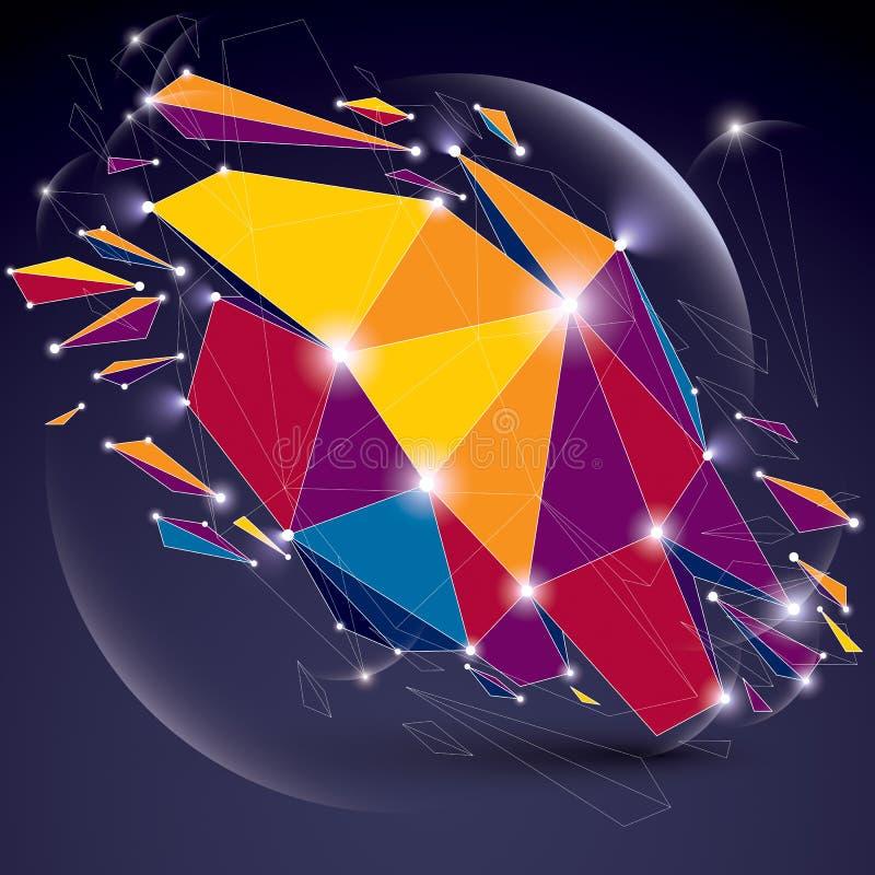 Абстрактный вектора объект низко поли разрушенный с линиями и conn точек бесплатная иллюстрация