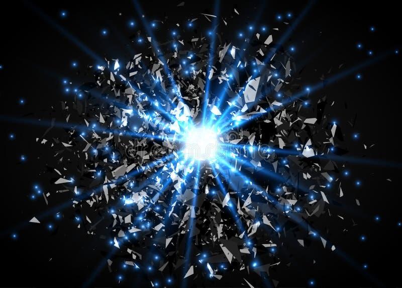 абстрактный вектор взрыва предпосылки Яркий взрыв в темноте Накаляя яркий свет График цифров для брошюры, вебсайта иллюстрация вектора