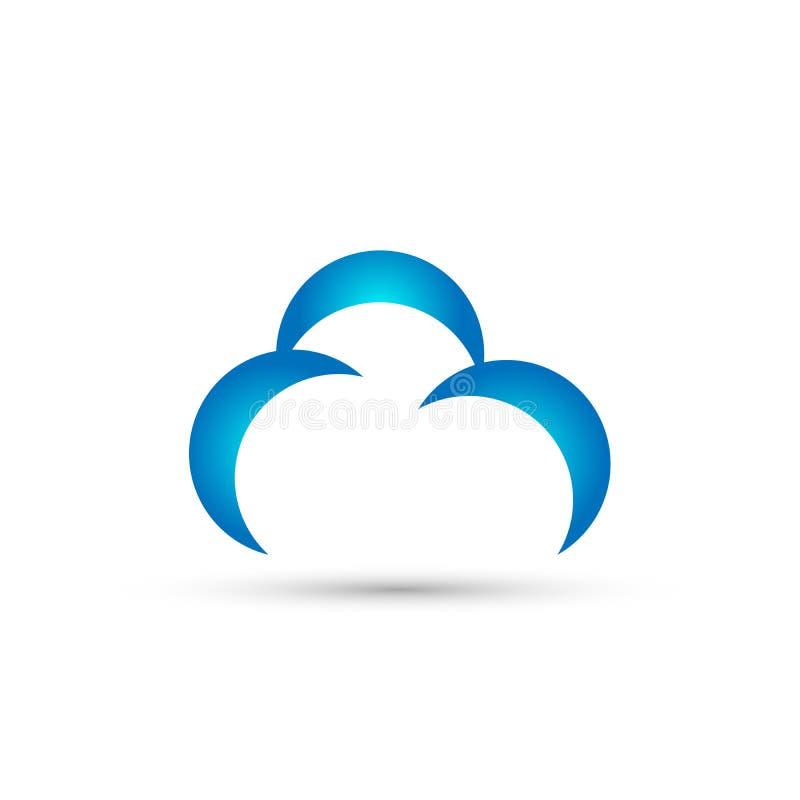 Абстрактный вектор дизайна значка символа концепции логотипа облака на белой предпосылке иллюстрация штока