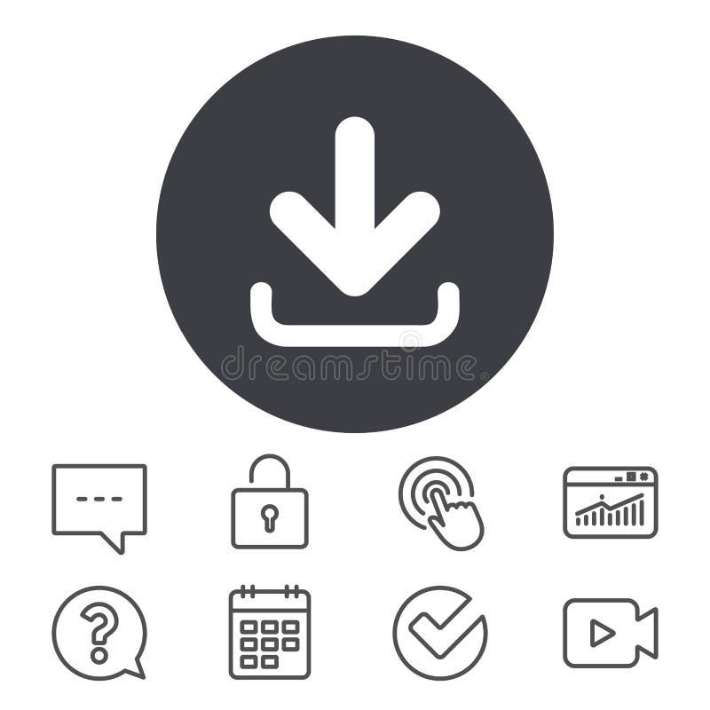 абстрактный вектор иллюстрации иконы download Кнопка загрузки иллюстрация вектора