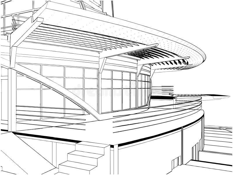 абстрактный вектор корабля конструкции здания иллюстрация вектора