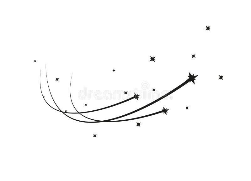 Абстрактный вектор падающей звезды - черная звезда стрельбы с элегантным следом звезды на белой предпосылке - метероид, комета иллюстрация штока