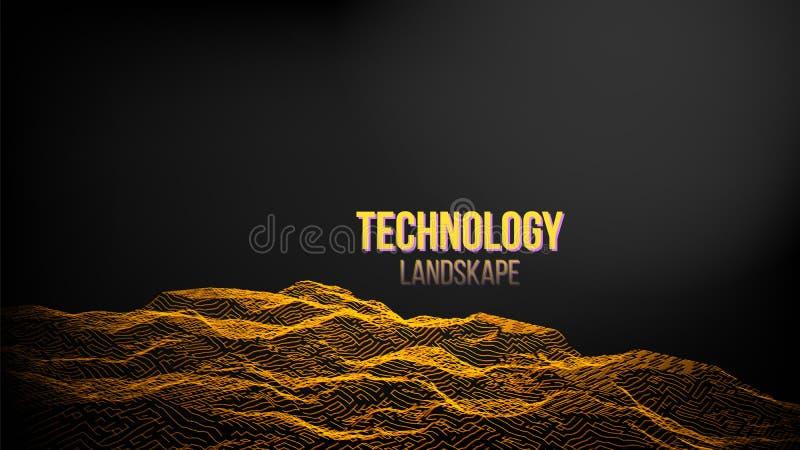 Абстрактный вектор предпосылки ландшафта цифров Испускать в космос Волна вибрации Иллюстрация технологии бесплатная иллюстрация