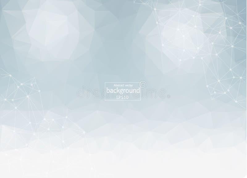 абстрактный вектор предпосылки Футуристическая полигональная карточка стиля Предпосылка для представлений дела молекулярная струк бесплатная иллюстрация