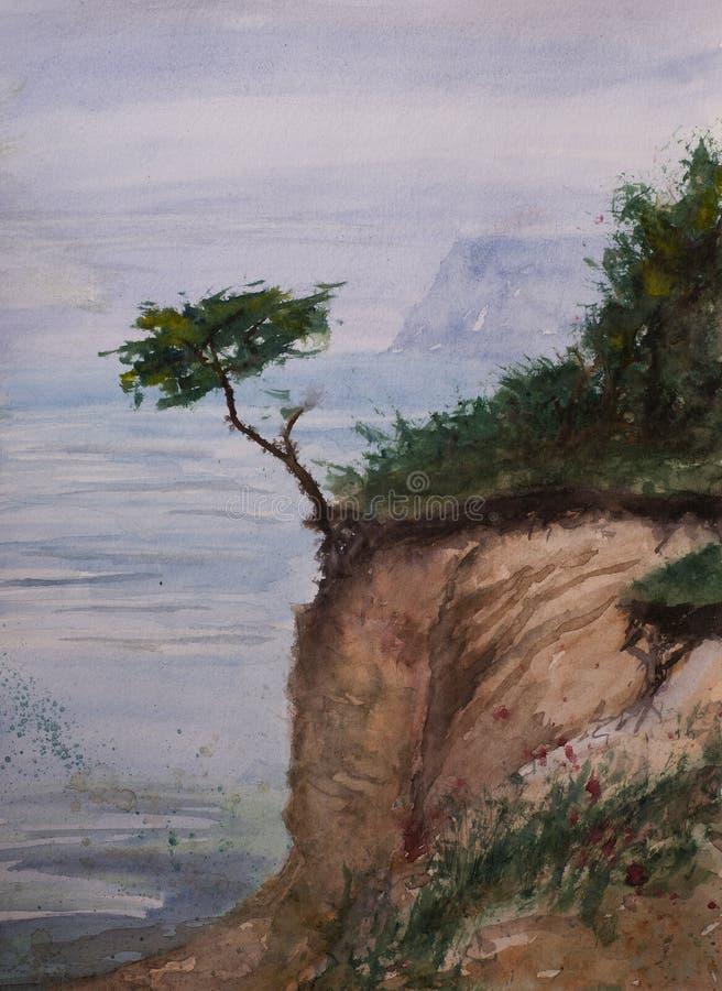 Абстрактный взгляд эскиза акварели ботинка моря иллюстрация штока