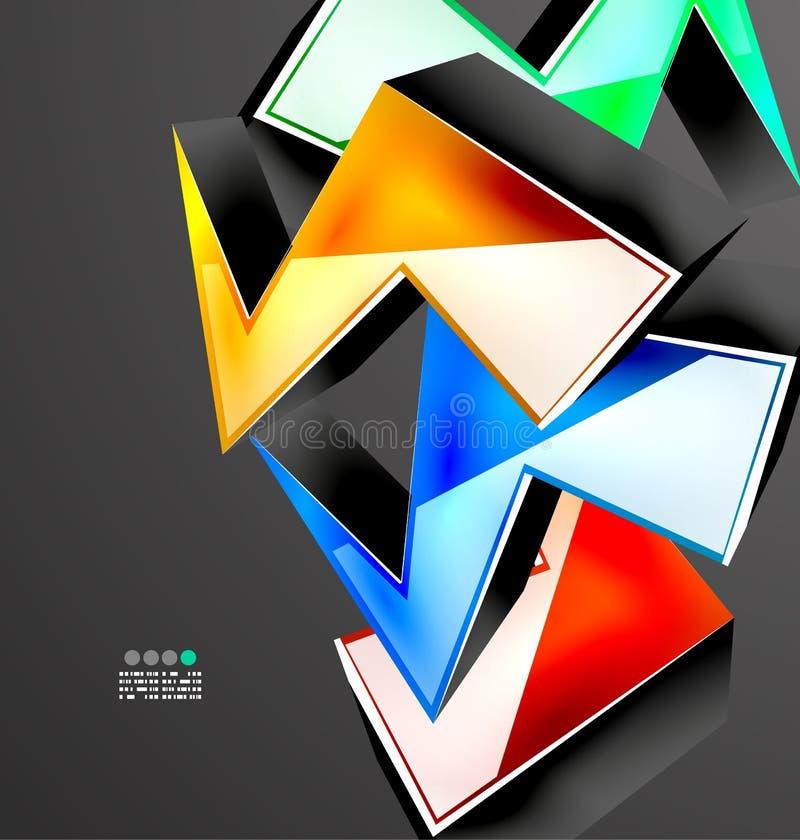 Абстрактный геометрический дизайн 3D иллюстрация вектора