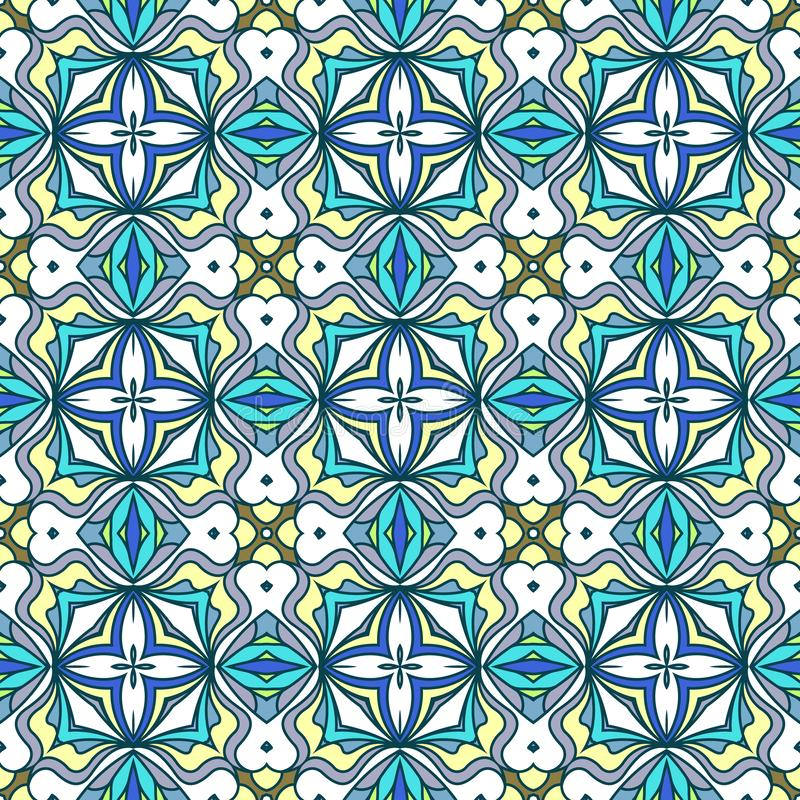 Абстрактный геометрический орнамент, яркая голубая безшовная картина в живых цветах бесплатная иллюстрация