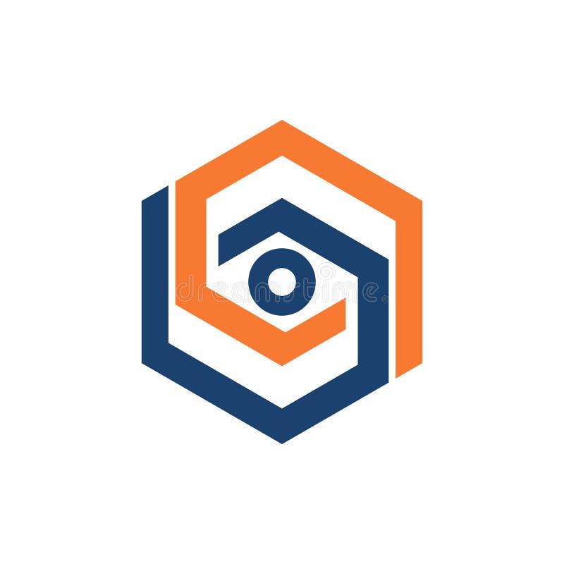 Абстрактный глаз шестиугольника видит наблюдает простой логотип дела иллюстрация вектора
