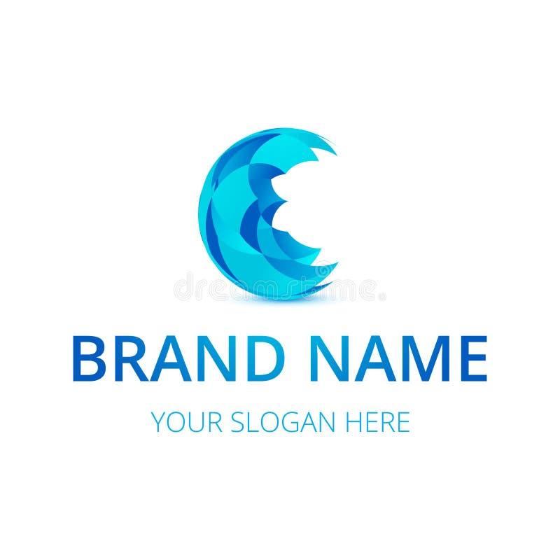 Абстрактный голубой бренд дизайна или фирменного стиля логотипа сферы иллюстрация штока