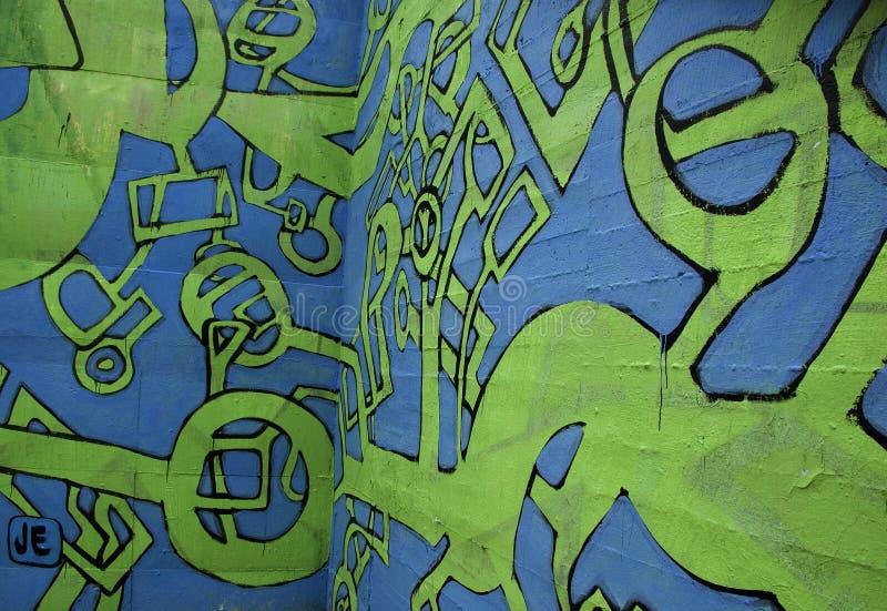 абстрактный голубой зеленый цвет надписи на стенах стоковые изображения