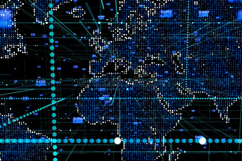абстрактный голубой компьютер ставит точки мир вектора графической карты иллюстрации круглый бесплатная иллюстрация