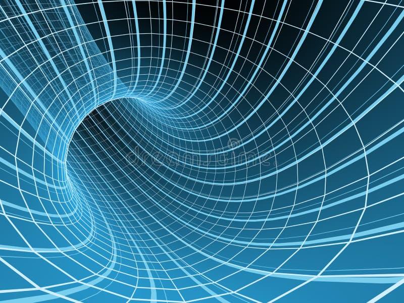 абстрактный голубой тоннель решетки 3d иллюстрация вектора
