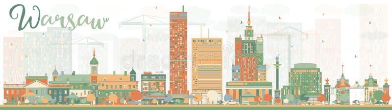 Абстрактный горизонт Варшавы с зданиями цвета иллюстрация штока