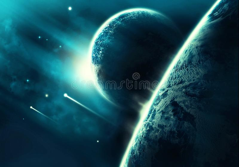 Абстрактный горизонт планеты с ним луна с кометами падая в его стоковое изображение rf
