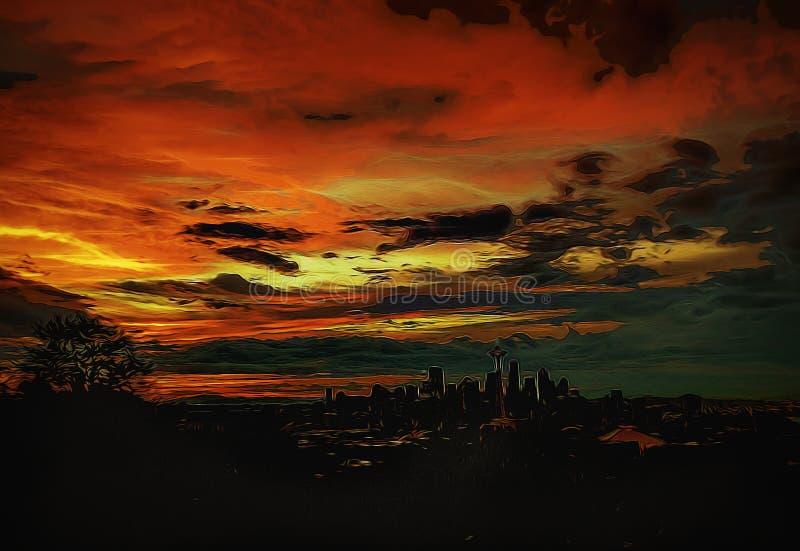 Абстрактный горизонт Сиэтл стоковые изображения