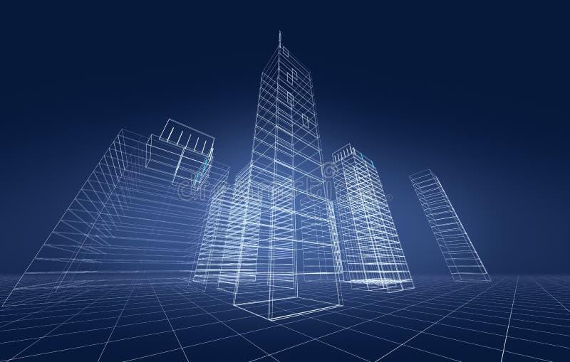 абстрактный город 3d иллюстрация вектора