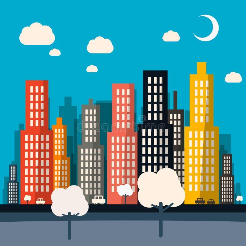 Абстрактный город ночи вектора иллюстрация штока