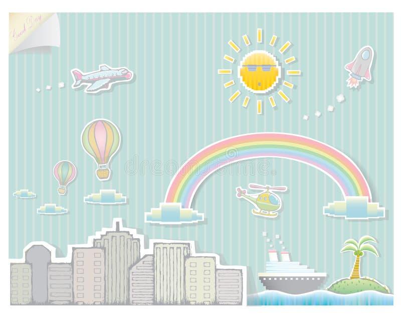 Абстрактный город с персонажами из мультфильма иллюстрация штока
