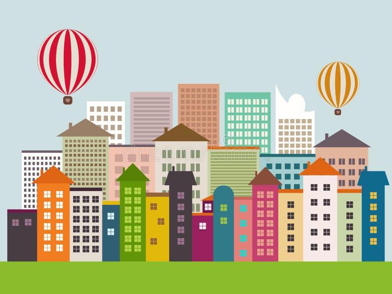 Абстрактный город Eco с красочными зданиями, горячими воздушными шарами, горизонтами, горячими воздушными шарами, голубым небом иллюстрация вектора