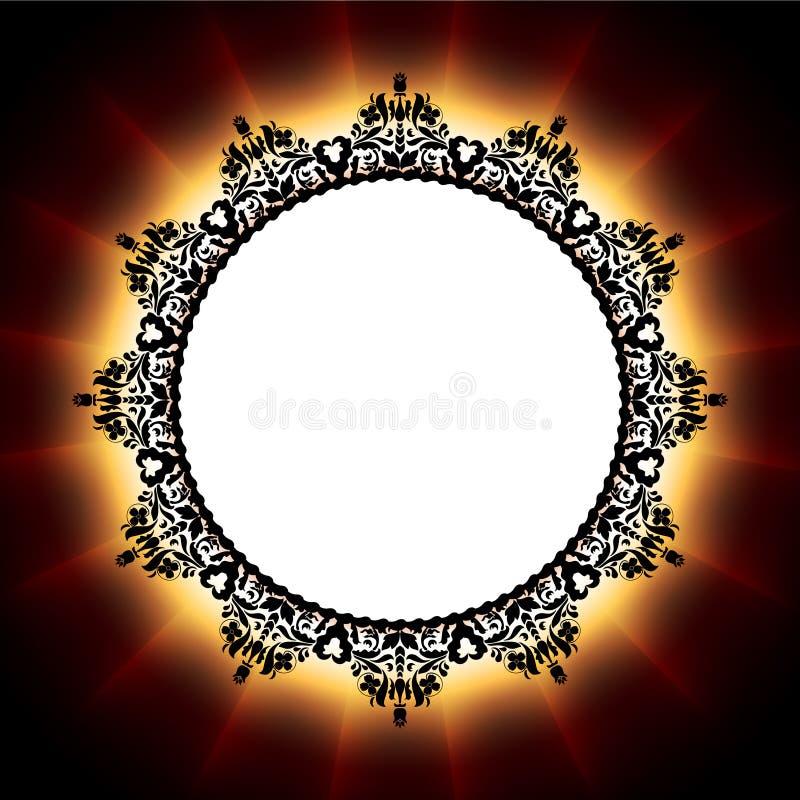 Абстрактный горящий круг пожара с цветками бесплатная иллюстрация