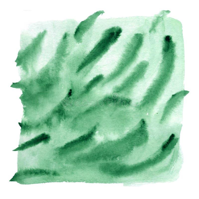 Абстрактный градиент акварели в зеленой гамме с потеками и ходами щетки, жидкостной текстурой, рукой покрашенная иллюстрация иллюстрация вектора