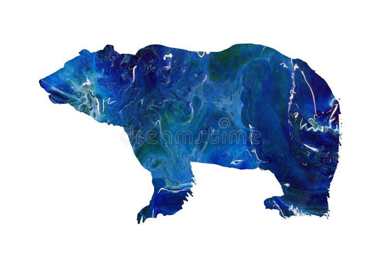 Абстрактный гризли, силуэт мрамора полярного медведя Большое дикое животное иллюстрация вектора