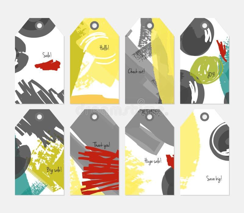 Абстрактный грубый комплект бирки серой белизны желтого цвета ходов grunge иллюстрация вектора