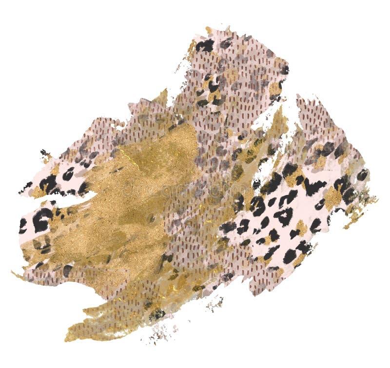 Абстрактный грубый ход щетки с grunge, сияющими текстурами сусального золота, предпосылкой печати шкуры иллюстрация штока