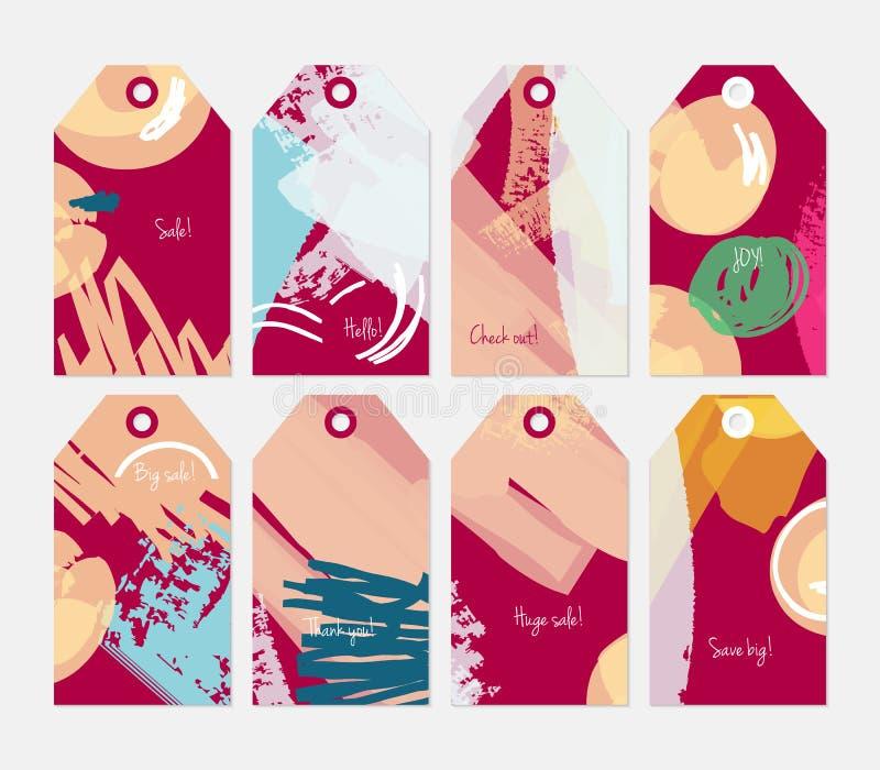 Абстрактный грубый grunge штрихует глубоко - красный желтый комплект бирки иллюстрация вектора