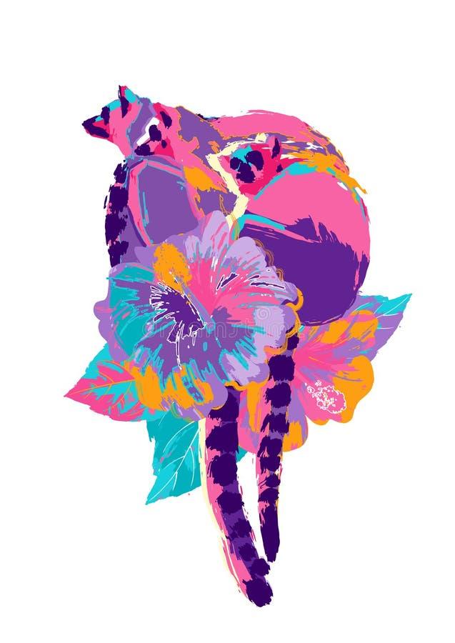 Абстрактный дизайн вектора 3 диких лемуров сидя на цветках гибискуса бесплатная иллюстрация