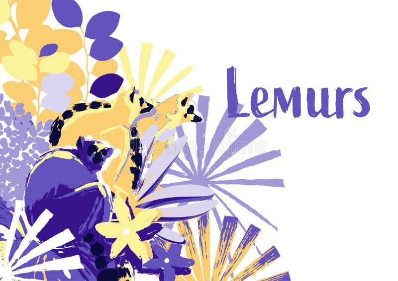 Абстрактный дизайн вектора 3 диких лемуров сидя на цветках гибискуса иллюстрация штока