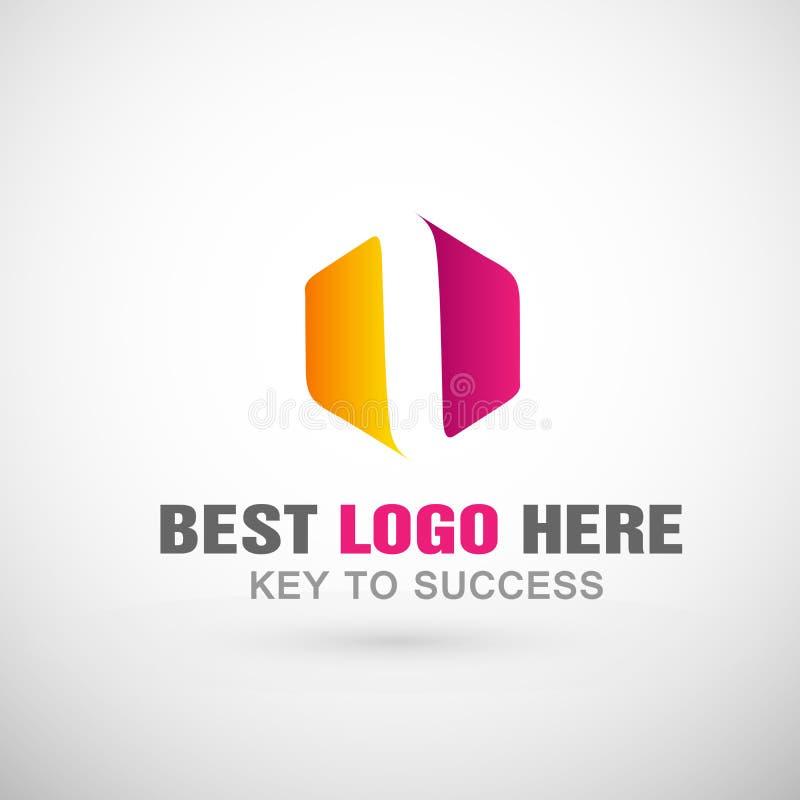 Абстрактный дизайн значка логотипа шестиугольника для деловой компании иллюстрация вектора