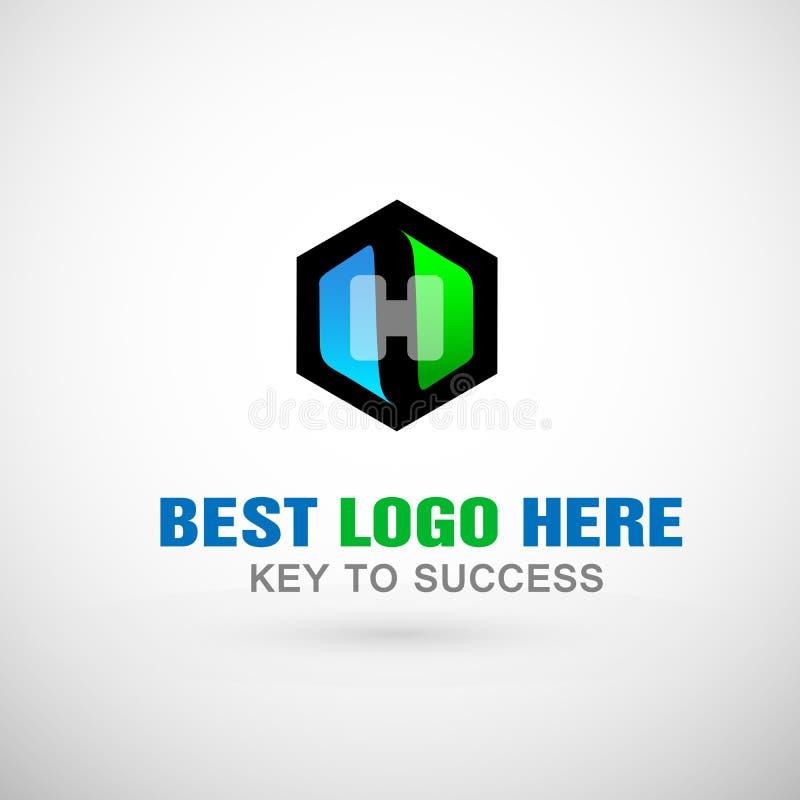 Абстрактный дизайн значка логотипа шестиугольника логотипа здоровья с письмом h для для медицинской компании иллюстрация вектора