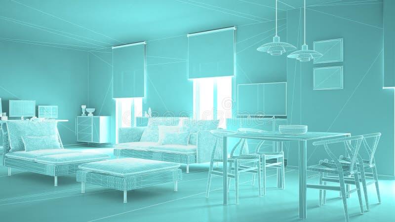 Абстрактный дизайн интерьера архитектуры, современная живущая комната, конструкция сетки wireframe highpoly, голубая иллюстрация штока