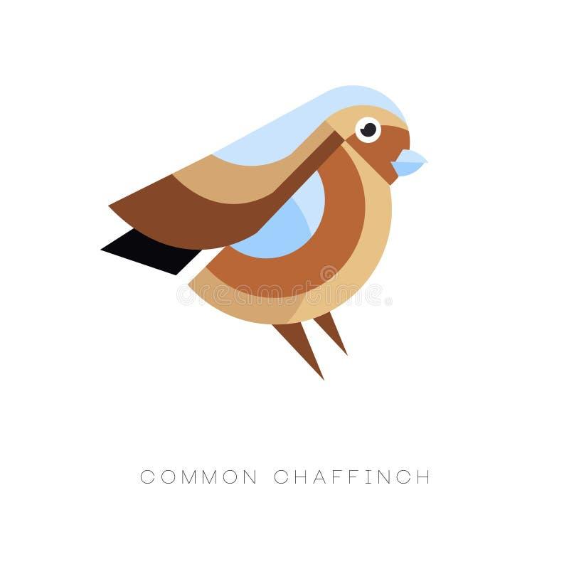 Абстрактный дизайн логотипа общего зяблика Геометрический плоский значок вектора Малая птица воробьинообразного Красочный графиче иллюстрация штока