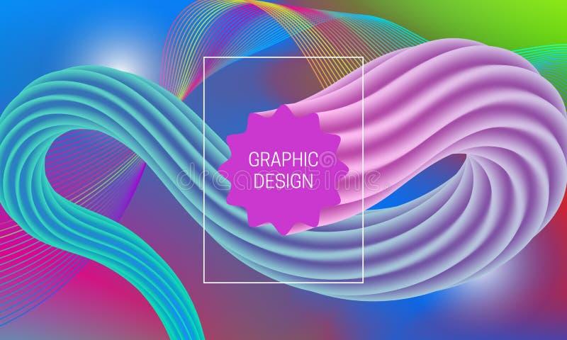 Абстрактный дизайн предпосылки с жидкостной формой подачи и multicolor элементом guilloche Динамический шаблон плаката музыки иллюстрация вектора