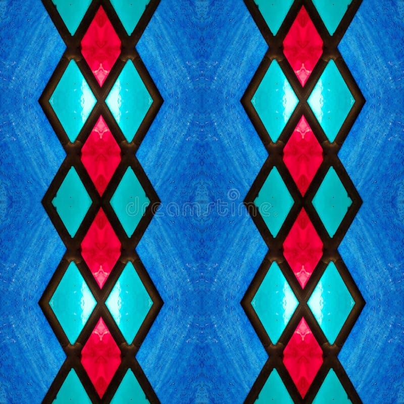 абстрактный дизайн с цветным стеклом в аквамарине, красных и голубых цветах, предпосылке и текстуре иллюстрация вектора